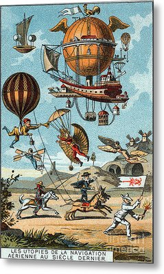 Utopian Flying Machines 19th Century Metal Print by Science Source