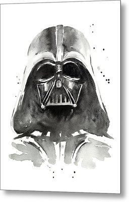 Darth Vader Watercolor Metal Print by Olga Shvartsur