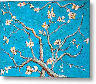 Van Gogh Almond Blossom Slightly Interpreted Metal Print by Ion vincent DAnu
