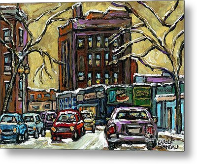 Van Horne Corner Ave Du Parc On The Road Again Montreal Cars In January City Life Paintings Cspandau Metal Print by Carole Spandau