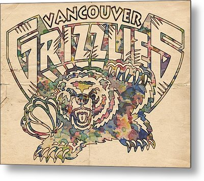 Vancouver Grizzlies Retro Poster Metal Print by Florian Rodarte