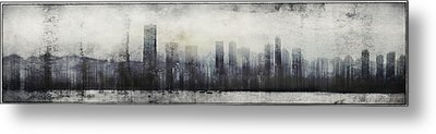Vancouver Skyline Abstract 1 Metal Print by Peter v Quenter