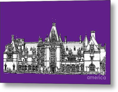 Vanderbilt's Biltmore In Purple Metal Print by Adendorff Design