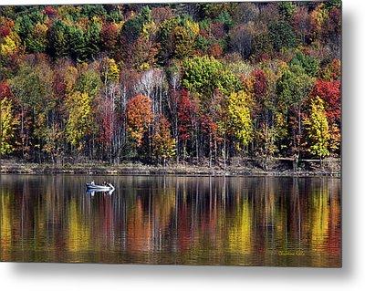 Vanishing Autumn Reflection Landscape Metal Print by Christina Rollo