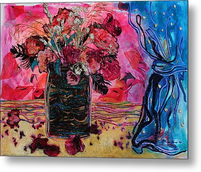 Vase And Blue Curtain Metal Print by Diane Fine