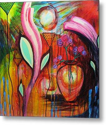 Vase In Blooms Metal Print by Brenda Nachreiner