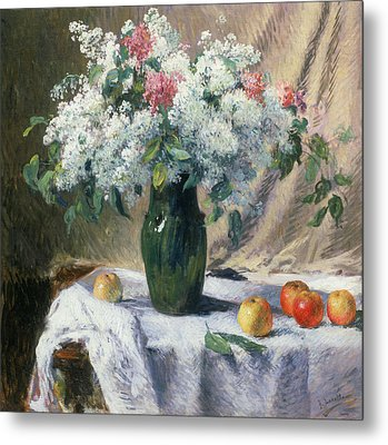 Vase Of Flowers Metal Print by Henri Lerolle