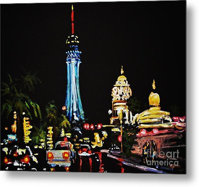 Vegas At Night Metal Print by John Malone