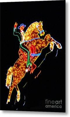 Vegas Cowboy Sign Metal Print by John Malone