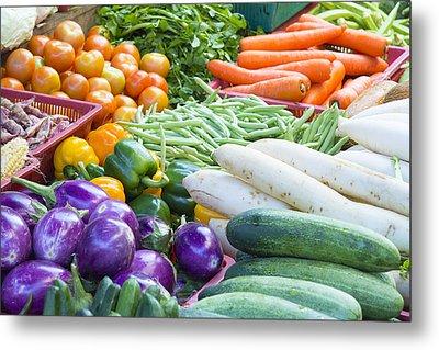 Vegetables Stand In Wet Market Metal Print by JPLDesigns