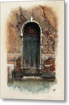 Venetian Door 01 Elena Yakubovich Metal Print by Elena Yakubovich