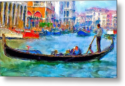 Venice Canals Gondola Metal Print by Yury Malkov
