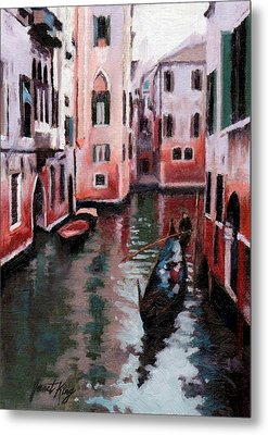 Venice Gondola Ride Metal Print by Janet King