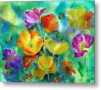 Ventana Poppies Metal Print by Summer Celeste