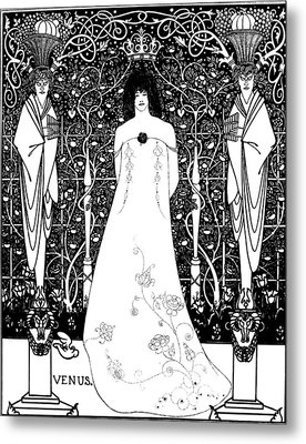 Venus Between Terminal Gods Metal Print by Aubrey Beardsley