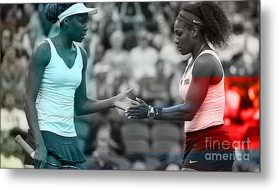 Venus Williams And Serena Williams Metal Print by Marvin Blaine