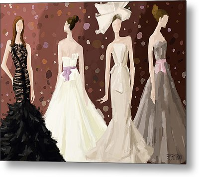 Vera Wang Bridal Dresses Fashion Illustration Art Print Metal Print by Beverly Brown Prints