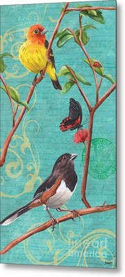 Verdigris Songbirds 2 Metal Print by Debbie DeWitt