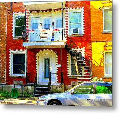 Verdun City Street Triplex Apartment Outdoor Winding Stairs Montreal Scenes Primary Colors C Spandau Metal Print by Carole Spandau