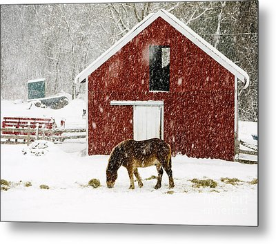 Vermont Christmas Eve Snowstorm Metal Print by Edward Fielding
