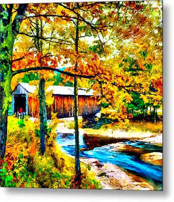 Vermont Covered Bridge Metal Print by Bob and Nadine Johnston