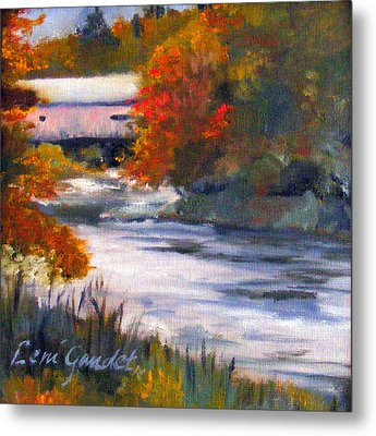 Vermont Covered Bridge In Fall Metal Print by Lenore Gaudet