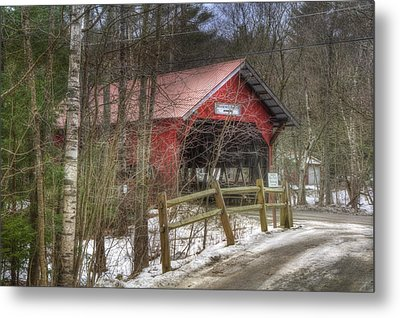 Vermont Covered Bridge - Stowe Vermont Metal Print by Joann Vitali