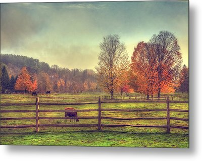 Vermont Farm In Autumn Metal Print by Joann Vitali