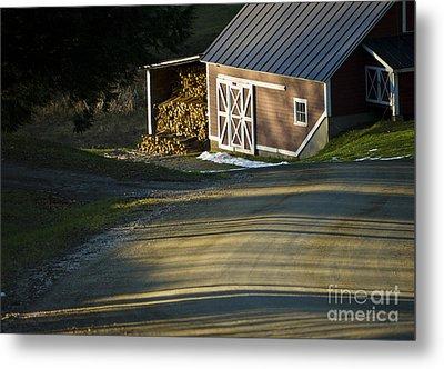 Vermont Maple Sugar Shack Sunset Metal Print by Edward Fielding
