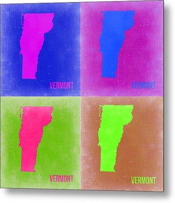 Vermont Pop Art Map 2 Metal Print by Naxart Studio