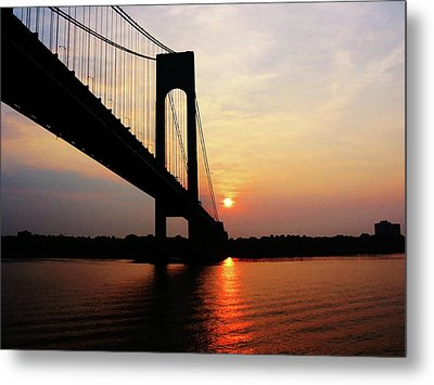 Verrazano Bridge At Dawn Metal Print by Susan Savad