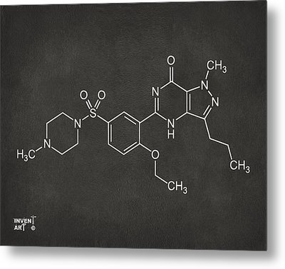 Viagra Molecular Structure Gray Metal Print by Nikki Marie Smith