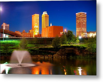 Vibrant Tulsa Skyline Metal Print by Gregory Ballos