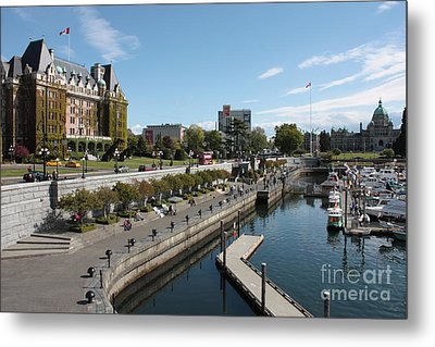 Victoria Harbour With Empress Hotel Metal Print by Carol Groenen