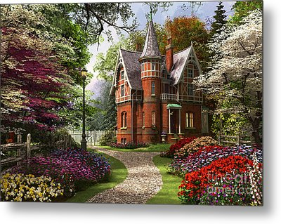 Victorian Cottage In Bloom Metal Print by Dominic Davison