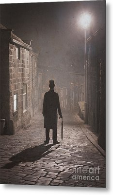 Victorian Man With Top Hat On A Cobbled Street At Night In Fog Metal Print by Lee Avison