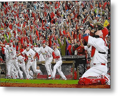 Victory - St Louis Cardinals Win The World Series Title - Friday Oct 28th 2011 Metal Print by Dan Haraga