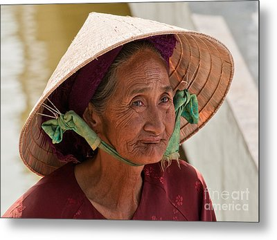 Vietnamese Lady Metal Print by Rick Piper Photography