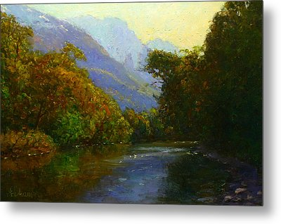 View Downstream Lower Holyford Metal Print by Terry Perham