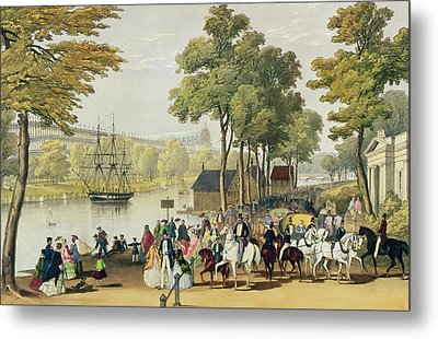 View From The North Bank Of The Serpentine Metal Print by Philip Brannan