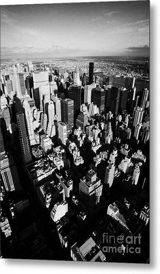 View North East Of Manhattan Queens East River From Observation Deck Empire State Building New York Metal Print by Joe Fox