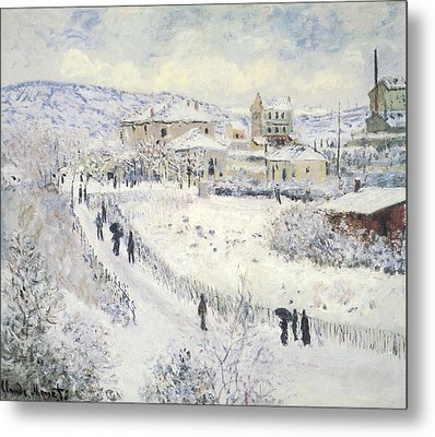 View Of Argenteuil Snow Metal Print by Claude Monet