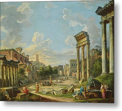 View Of Campo Vaccino In Rome Metal Print by Giovanni Paolo Panini