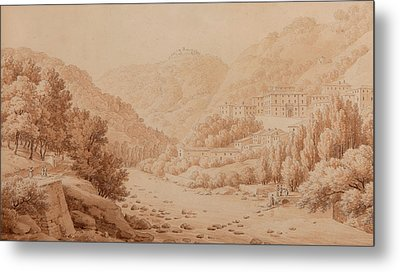 View Of The Baths Of Lucca Metal Print by Constant Bourgeois du Castelet