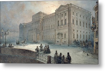 View Of The Mariinsky Palace In Winter Metal Print by Vasili Semenovich Sadovnikov