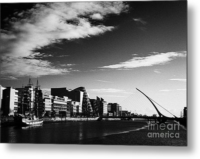 View Of The Samuel Beckett Bridge Over The River Liffey And The Convention Centre Dublin Republic Of Metal Print by Joe Fox