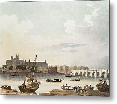View Of Westminster And The Bridge Wc On Paper Metal Print by English School