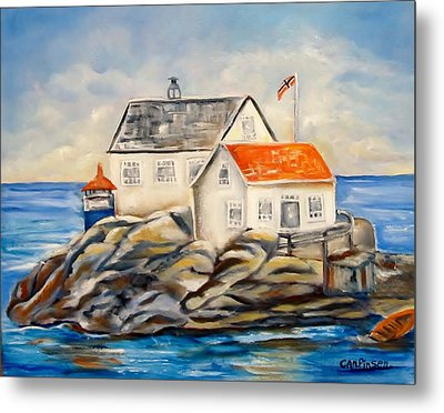 Vikeholmen Lighthouse II Metal Print by Carol Allen Anfinsen