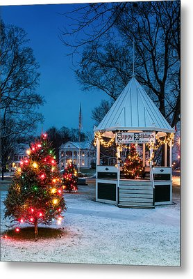 Village Green Holiday Greetings- New Milford Ct - Metal Print by Thomas Schoeller