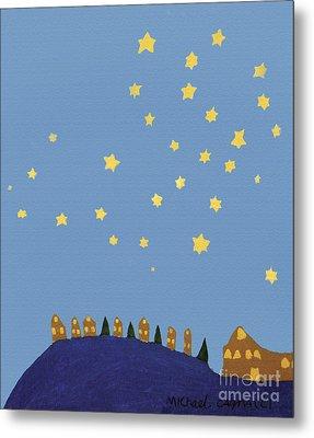 Village Starry Night Metal Print by Michael Cagnacci